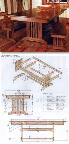 Craftsman Style Dining Table Plans - Furniture Plans and Projects | http://WoodArchivist.com