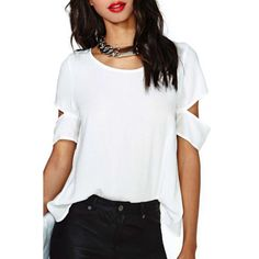Stylish Scoop Neck Half Sleeve Solid Color Cut Out Women's Blouse - WHITE XL