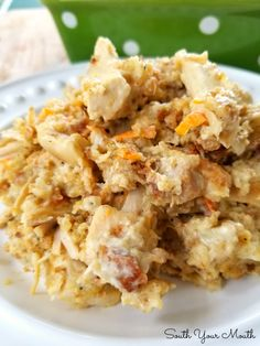 A comfort food casserole recipe with Pepperidge Farm stuffing, sour cream and chicken. Smothered Chicken Casserole, Chicken And Dressing Casserole, Chicken Stuffing Casserole, Stuffing Recipes, Casserole Dishes, Casserole Recipes, Mexican Casserole, Cooked Chicken Recipes, Cooking Recipes