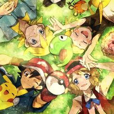 Pokémon XYZ kalos family. ASH, Serena, Clemont, and Bonnie