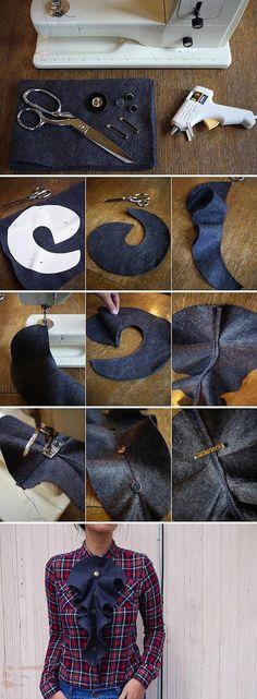 bluzka tutorial z żabotem