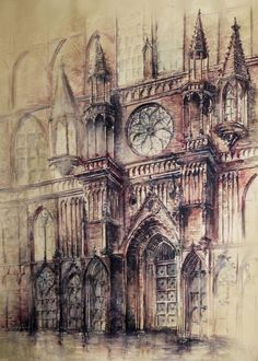 Gothic and Steampunk style Architecture with Ink and Watercolor Illustrations - Cathedral – Gothic and Steampunk style Architecture Drawings by Elwira Pawlikowska - Illustration Manga, Illustrations, Watercolor Illustration, Watercolor Art, Architecture Antique, Architecture Drawings, Architecture Design, Drawing Sketches, Art Drawings