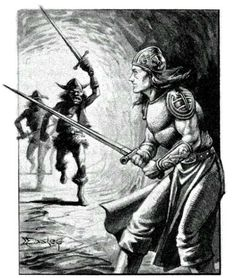 Goblins attack, by Jeff Easley, from Frank Mentzer's Basic D&D Players Manual, TSR, 1983.