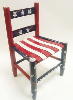 Red white and blue child's wooden chair by RockinThePaint on Etsy. Painted Wooden Chairs, Hand Painted Furniture, Funky Furniture, Furniture Projects, Furniture Makeover, Painted Desks, Old Chairs, Funky Chairs, Rocking Chairs