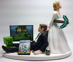 More like groom pulling the bride with a iron pickax in the other hand but both are mine craft player skins Steve and Alex Minecraft Toys, Minecraft Funny, Minecraft Creations, Minecraft Cake, Lego, Our Wedding, Dream Wedding, Funny Wedding Cake Toppers, Wedding Expenses