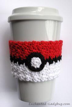 FREE Crochet Poké Ball Coffee Cup Cozy Pattern More