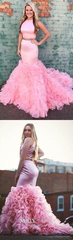 Pink Prom Dresses Long, Sexy Formal Evening Dresses Two Piece, Unique Wedding Party Dresses Open Back, Cascading Ruffles Pageant Graduation Party Dresses Mermaid #MillyBridal #pinkdress #twopiecedress #openbackdress