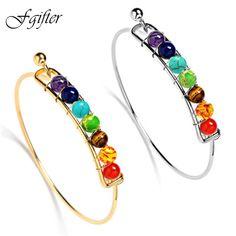 Charming 7 Chakra Bracelets Bangle Colors Natural Stone Beads Energy Bracelet Jewelry Wholesale