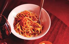 Think of this pasta from Tosca as a carbonara, but with tomatoes in place of the eggs.