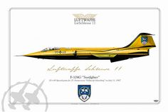 F-104G Starfighter    25 anniversary Feldwerft Manching special marks yellow/black on July 11, 1987  last flight August 27, 1987