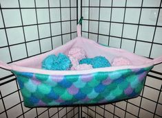 Fleece Corner Basket w/ Pom-Poms - Choose your own colors! Great for Sugar Gliders, Rats, Ferrets, Hedgehogs, Guinea Pigs & other pets. Sugar Glider Pet, Sugar Glider Cage, Sugar Gliders, Guinea Pig Toys, Guinea Pigs, Small Rat, Hedgehog Cage, Rat Hammock, Twister