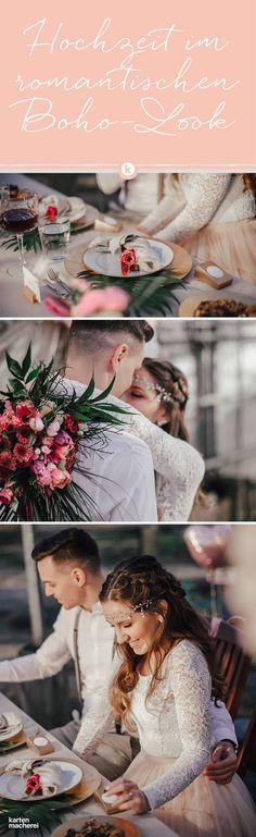 Hochzeit feiern im Gewächshaus. Romatisch, boho und mit viel Grün. Inspiration findet ihr hier