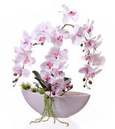 Storczyk biało fioletowy kompozycja w donicy