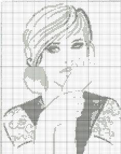 0 point de croix monochrome fille pensive - cross stitch thoughtful girl