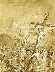 Giovanni Domenico Tiepolo (Venice 1727 - Venice 1804) - The Raising of the Cross.