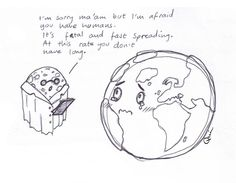 A little satirical sketch to remind us that the earth is precious and delicate! Drawing 38 #50daychallenge Jaime Quinn art