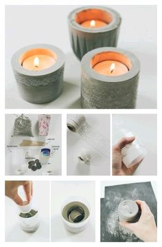 Let's play with cement! DIY candle holders made of cement that you can make at home.(online pictures) These concrete tea light candle holders demonstrate a simple DIY alternative to concrete stencilling in the form of functional home décor. Cement Art, Concrete Crafts, Do It Yourself Projects, Diy Projects To Try, Craft Projects, Ideias Diy, Votive Candles, Candels, Candle Making