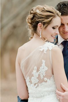 Wedding hairstyle updo and SUCH a cute dress!