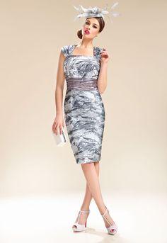 Donna Zeila 8943   GN Design Group DONNA ZEILA 8943  Conjunto vestido de fiesta corto con chaqueta en jacquard