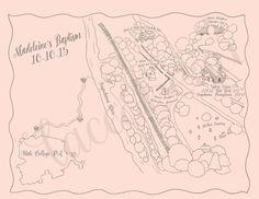 Custom Hand Drawn Baptism Map by Lace & Beau www.etsy.com/shop/laceandbeau
