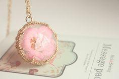 Alice In Wonderlannd Peach Blossom  24K Gold Necklace