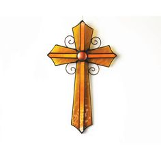 Large wall cross, Religious autumn decoration, Rustic glass cross,... (170 BRL) ❤ liked on Polyvore featuring home, home decor, stained glass, cross home decor, stain glass, autumn home decor and glass home decor