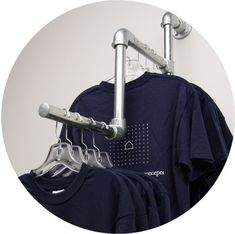 Clothing rack kits made with pipe and fittings.