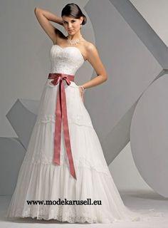 Brautkleid Hochzeitskleid mit Farbiger Schlaufe  www.modekarusell.eu
