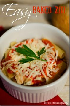 Baked Ziti recipe. Super easy if you're only cooking for one or two. Throw it in a ramekin and go.  http://freesamples.us/