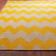 Chevron Stripe Dhurrie Rug: 4 Colors