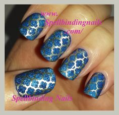 Spellbinding Nails: Fab Ur Nails - Fun 7 Image Plate + ' Dark blue lapis lazuli and Gold! '