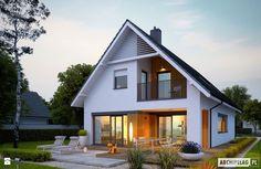 Projekt domu Riko G1 - widok wieczorny na ogród - zdjęcie od Pracownia Projektowa ARCHIPELAG - Domy - Styl Nowoczesny - Pracownia Projektowa ARCHIPELAG