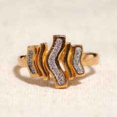 Save 20% with coupon code ILOVE20 now through 2/15/15 Vintage Retro Unique 22K Yellow Gold Statement Ring by OaksJewelryBoutique