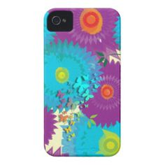 Summer Flowers and Butterflies Teal and Purple Mix iPhone 4 Case
