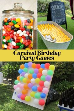 Diy Birthday Party Games, Outside Birthday Parties, Carnival Party Games, Fall Party Games, Birthday Party At Home, Kids Carnival, Carnival Birthday Parties, Harvest Party Games, Harvest Birthday Party