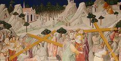 Agnolo Gaddi - La Leggenda della vera Croce: 4 Sant'Elena ritrova la Santa Croce - affresco - 1380 -1390 - parete destra Cappella Maggiore - Basilica Santa Croce, Firenze