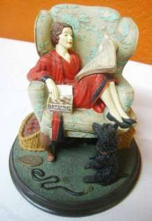 """Norman Rockwell """"Sitting Pretty"""" Figurine Norman Rockwell Figurines, Norman Rockwell Art, Norman Rockwell Paintings, Jc Leyendecker, Collectible Figurines, Comfy, Chair, Reading, Pretty"""