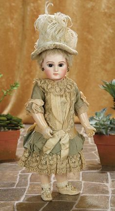 An Early Period French Bisque Premiere Bebe by Emile Jumeau with Lambswool Wig 5000/7500