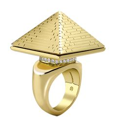 Hand crafted in yellow and pink gold, deep engraved and set with diamonds, the ring opens to reveal a Sarcophagus and a bound figure entombed inside…the perfect present for the Mummy in your life this
