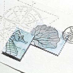 Steckenpferdchenstanze 'Briefmarken-Set', Steckenpferdchenstempel 'Seepferdchen, Koralle'
