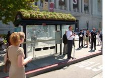 Another great bus stop with a green roof