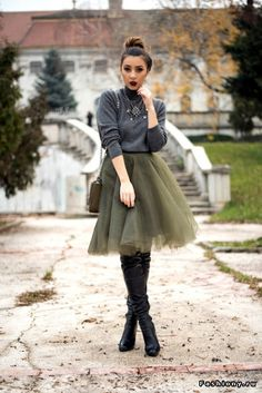 Army green tulle skirt