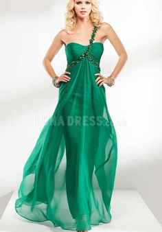 Vintage Chiffon One Shoulder A line Spring & Fall Sweep/ Brush Train Prom Gowns