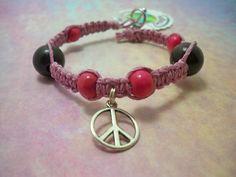 1807  Pink & Brown Peace Bracelet by HemptressDesigns on Etsy, $6.00