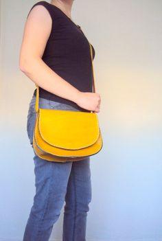 Yellow Leather Crossbody Purse Messenger Bag Shoulder by ammaciyo, $64.00