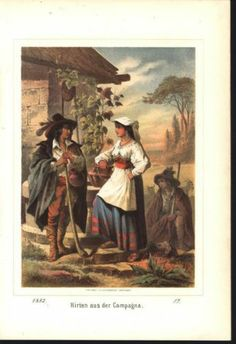 Sheperds From Campagna Italy 1882 Antique Color Lithograph Print | eBay