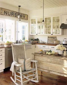 Vintage shabby kitchen with old rocker