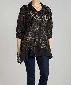 Another great find on #zulily! Black Sheer Swirl Sidetail Jacket - Plus #zulilyfinds