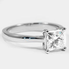Platinum Petite Tapered Trellis Ring // Set with a 1.51 Carat, Princess, Very Good Cut, H Color, VS1 Clarity Diamond #BrilliantEarth