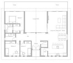 New House Front Modern Architects Ideas 2 Bedroom House Plans, Garage House Plans, House Plans One Story, Bungalow House Plans, Bungalow House Design, Modern House Plans, Small House Plans, House Floor Plans, U Shaped House Plans
